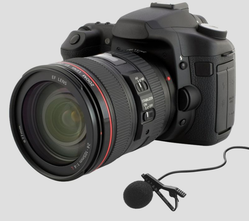 a dslr camera and lavalier microphone