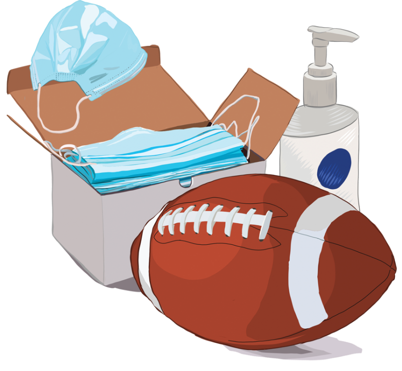 Illustration of a box of masks a football and hand sanitizer