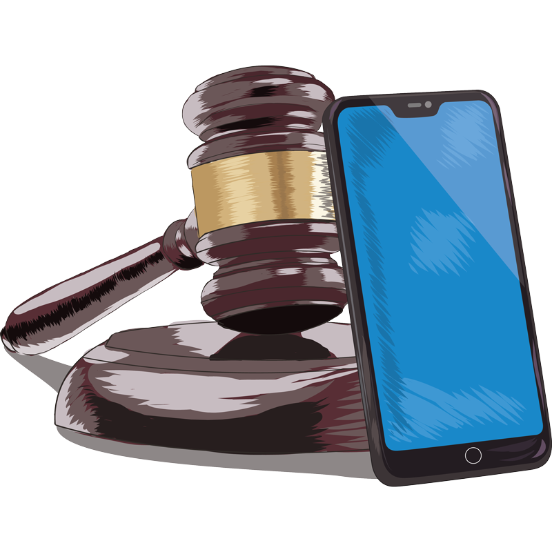 illustration of a gavel and smart phone