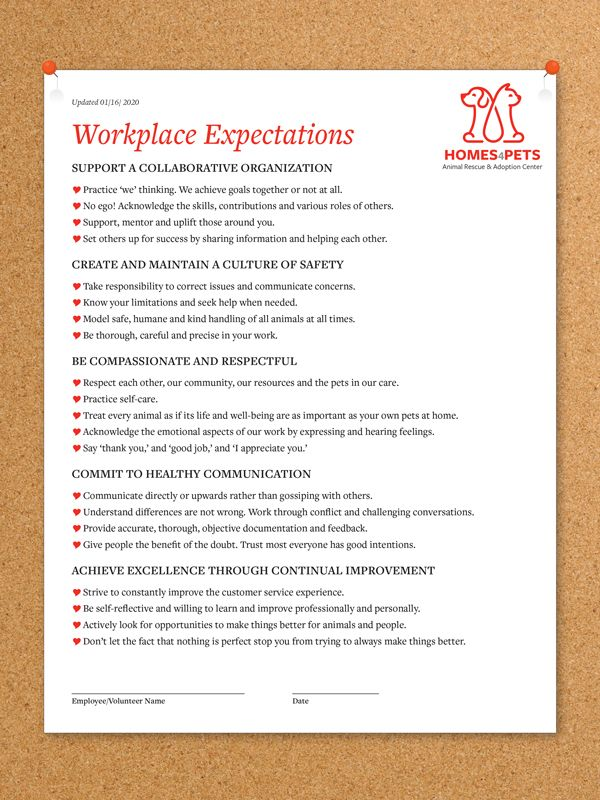 Workplace Expectations Sample
