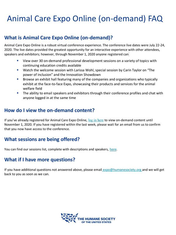 Animal Care Expo Online on-demand FAQ