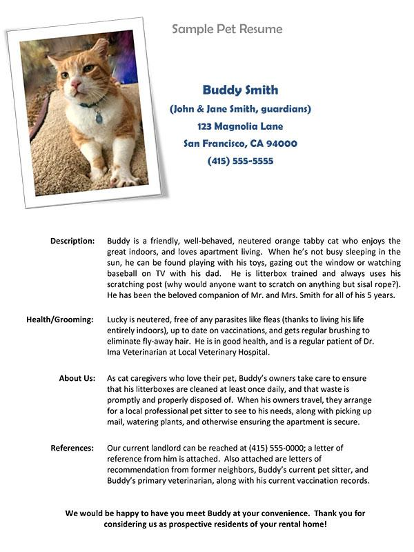 Sample Pet Resume