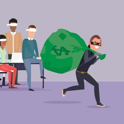illustration of a thief running away from a group of blindfolded people with a large sack of money
