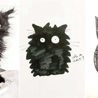 collage of a black kitten and two drawings