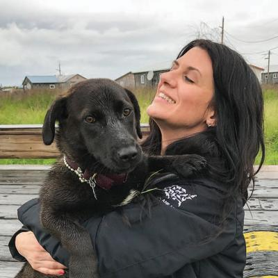 Amanda Arrington meets a new friend in the YK Delta region of Alaska