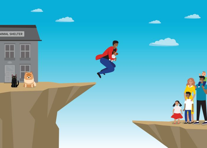 Conceptual illustration of a shelter worker taking a leap of faith, jumping off a cliff with a dog to hand off for adoption to a family