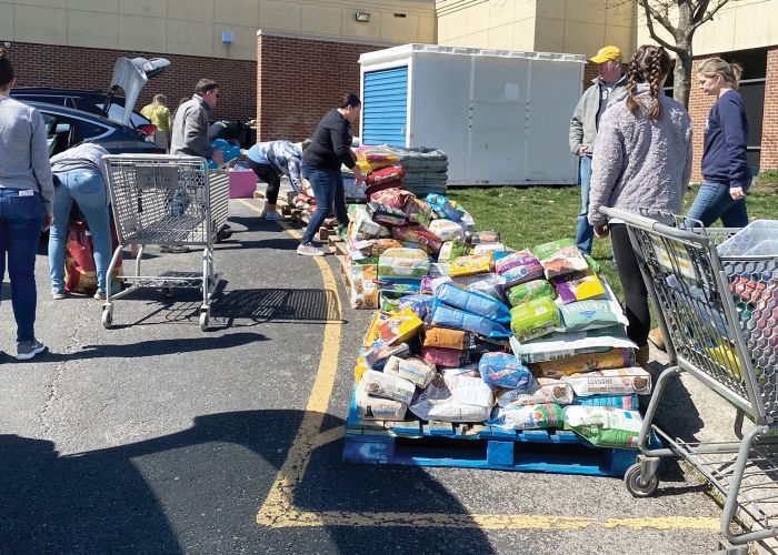 a group of people load shopping carts from a pallet of pet food