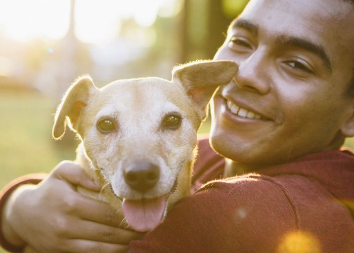 a smiling man holds a happy dog