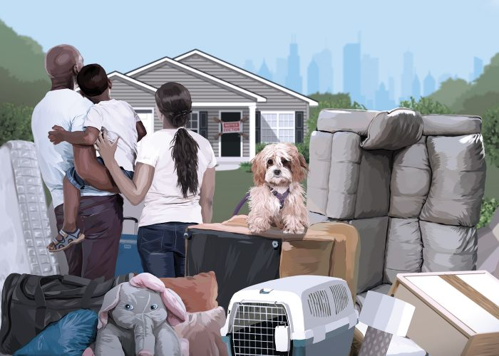 illustration of a family gathered in front of their home with moving boxes and furniture