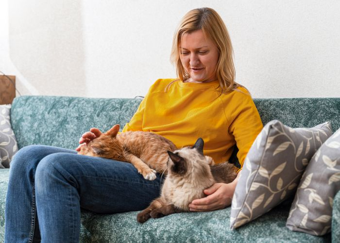 a woman with two cats on her lap