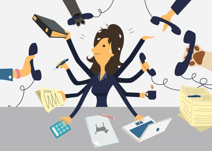 illustration of a stressed woman surrounded by phones and work