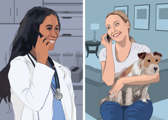 illustration of a woman talking to her veterinarian on the phone