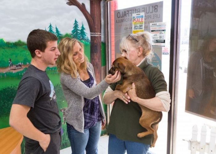 two people talk to a woman holding a puppy