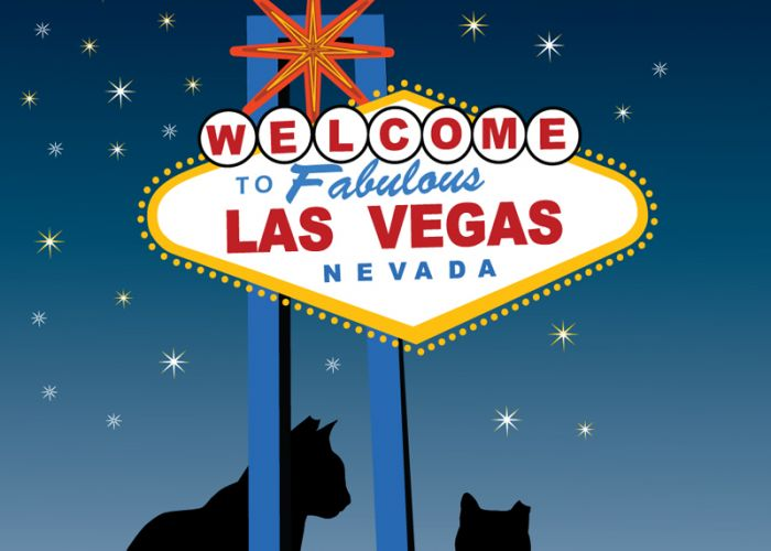 illustration of two cats sitting beneath the Las Vegas side