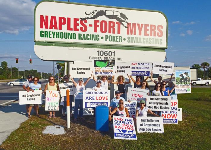 A group of advocates gathered with signs at a greyhound racing track